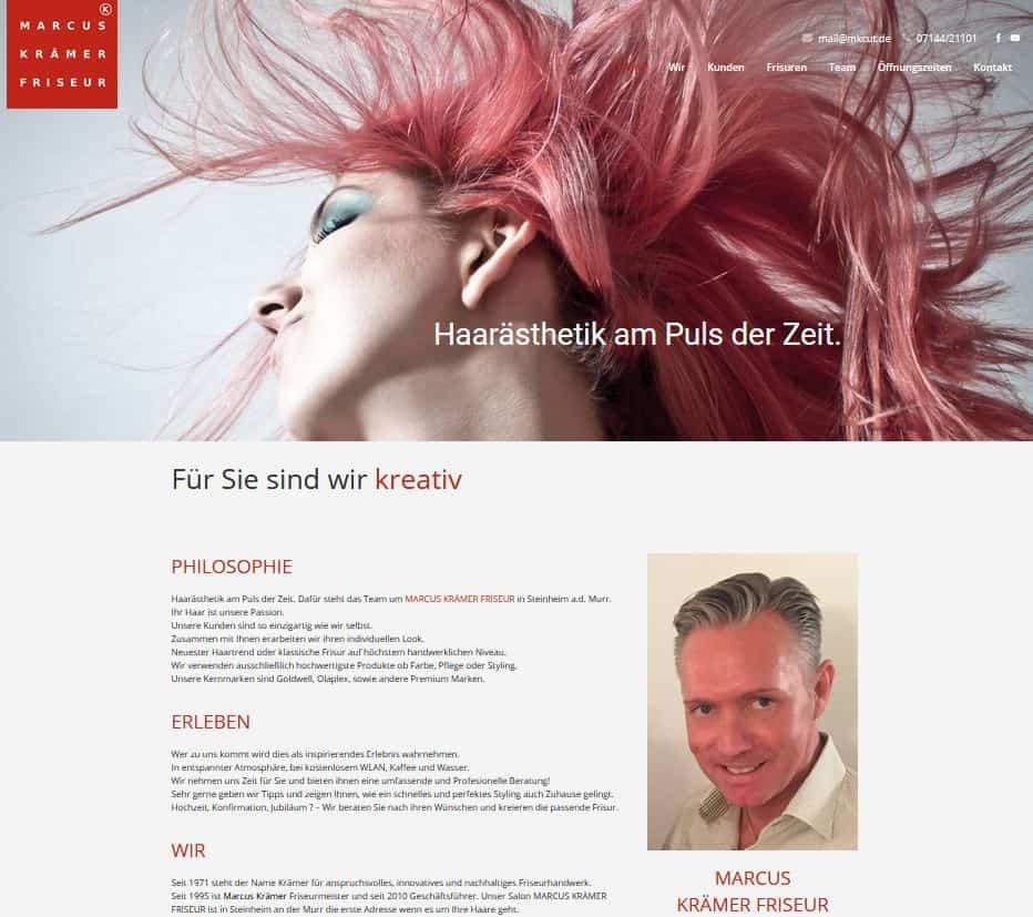 MARCUS KRÄMER FRISEUR - Screenshot Webseite