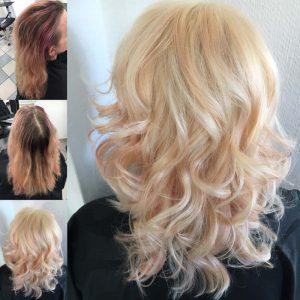Vorher/Nachher Foto | Frisur: Blond mit Pink, Olaplex @ MARCUS KRÄMER FRISEUR
